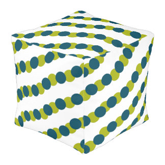 Blue & Green Bubble Dot Abstract Pouf
