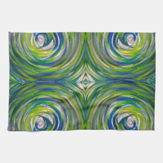 Blue Green Bulls Eye Kitchen Towel