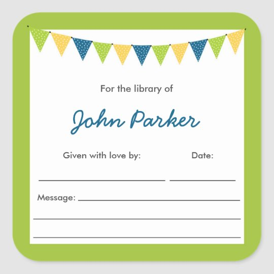 Blue Green Bunting Baby Shower book Bookplates Square Sticker