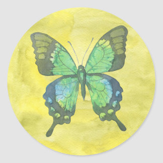 Blue/Green Butterfly Classic Round Sticker