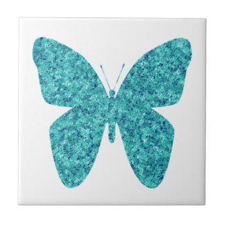 Blue Green Butterfly on White Tile