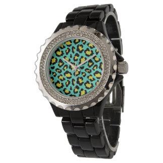 Blue/Green Cheetah & Black Rhinestone Enamel Watch