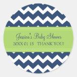 Blue Green Chevron Baby Shower Favor Stickers