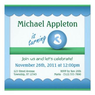 Blue Green Childrens Birthday Ball Invitations
