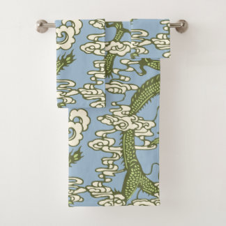 Blue Green Chinese Dragon Pattern Bath Towel Set