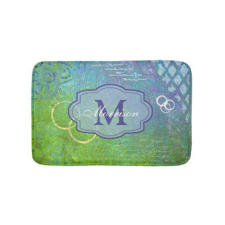 Blue Green Collage Monogram Bathmat
