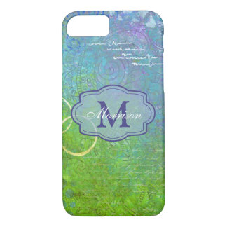 Blue Green Collage Monogram iPhone Case