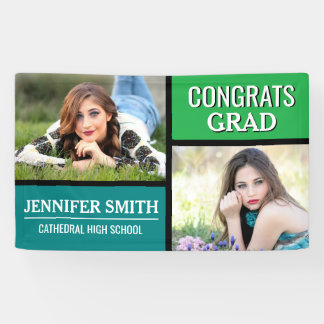 Blue Green Color Block Photo Graduation Party Banner