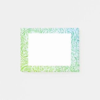 Blue Green Color Vintage Floral Scrollwork Graphic Post-it Notes