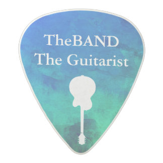 blue & green cool pick with guitarist name