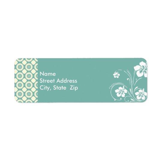 Blue-Green & Cream Floral; Aloha Return Address Label