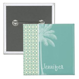 Blue-Green & Cream Floral Pin