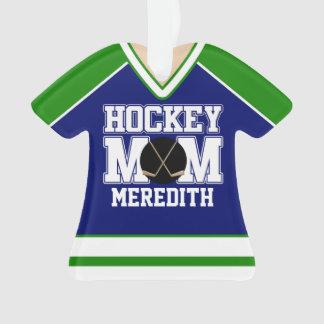 Blue/Green Custom Hockey Mom Jersey
