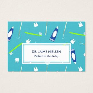 Blue & Green Dentistry Tools - Pediatric Dentist Business Card