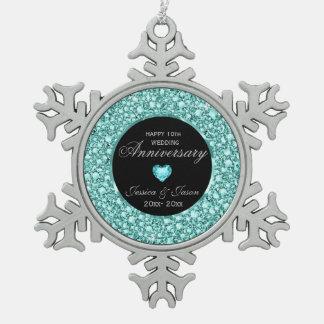 Blue-Green Diamonds Glitter 10th Anniversary Pewter Snowflake Ornament