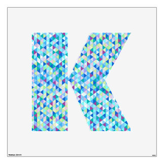 Blue Green Diamonds Wall Decal letter k-large