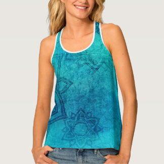 Blue Green Distressed Batik Look Lotus Flower Tank Top