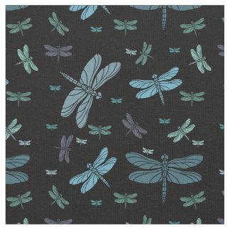 Blue Green Dragonflies Fabric
