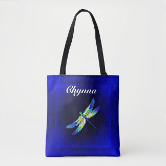 Blue & Green Dragonfly on Blue Geometric Squares Tote Bag
