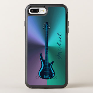 Blue Green Electric Guitar On Colorful Metal OtterBox Symmetry iPhone 7 Plus Case