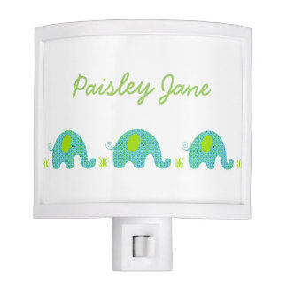 Blue Green Elephants neutral gender baby nursery Night Lite