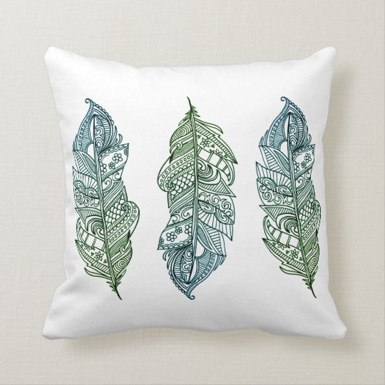 Blue Green Feather print Throw Pillow