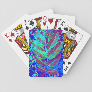 Blue Green Fern Leaf Plant Botanical Photography Playing Cards