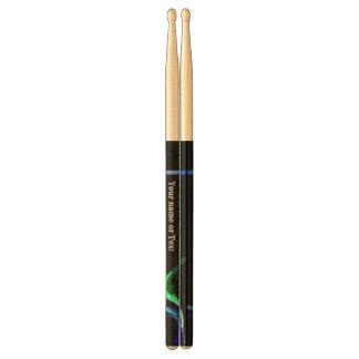 Blue Green Flame Design Drumsticks