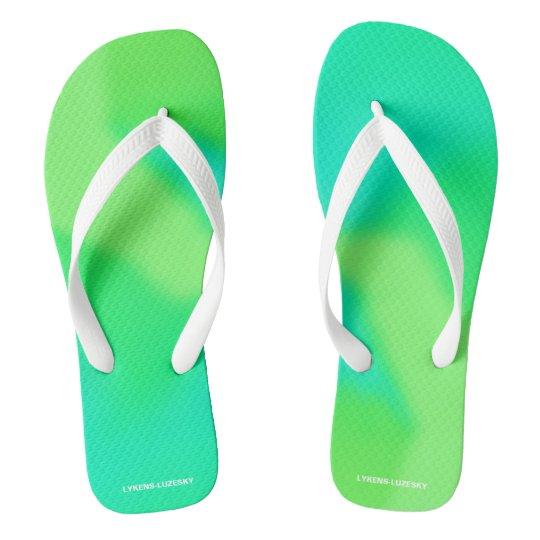 blue green flip flops