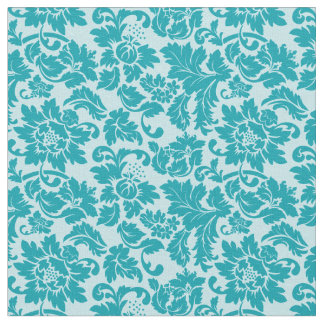 Blue Green Floral Damask Pattern Fabric