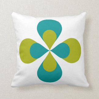 Blue Green Floral Throw Pillow