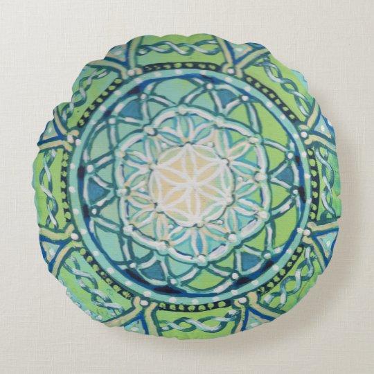 Blue Green Flower of Life Mandala Round Pillow