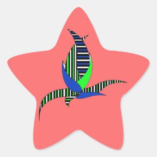 Blue-green flower on red star sticker
