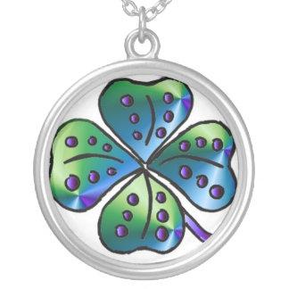 Blue Green Four Leaf Clover Round Pendant Necklace