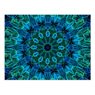 Blue Green Gems kaleidoscope Postcard