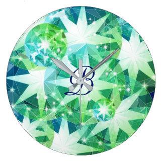 Blue Green Gemstone Compass Rhinestone Bling Look Large Clock