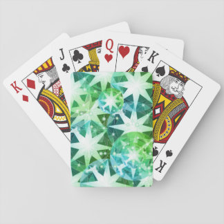 Blue Green Gemstone Compass Rhinestone Bling Look Playing Cards