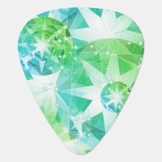 Blue Green Gemstone Compass Rhinestone Look Guitar Pick