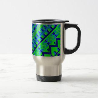 Blue Green Geo Abstract Aztec Tribal Print Pattern Travel Mug