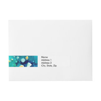 Blue Green Geometric Colorful Abstract Art Wraparound Address Label