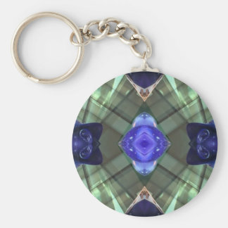 Blue Green Geometric Fractal Pattern Basic Round Button Keychain