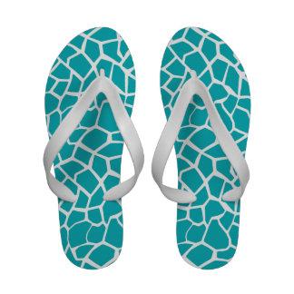 Blue-Green Giraffe Animal Print Sandals