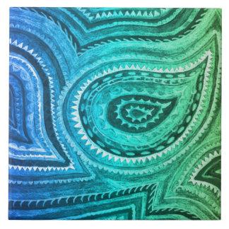 Blue Green Gold Boho Paisley Pattern Ceramic Tiles