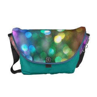 Blue Green Gold Glittering Lights Messenger Bag