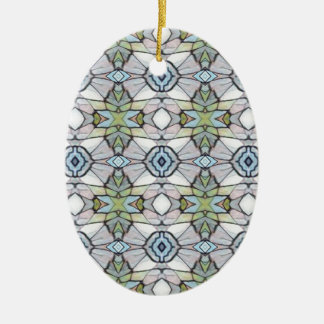 Blue Green Grey Modern Tribal Pattern Ceramic Oval Ornament