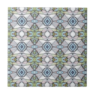 Blue Green Grey Modern Tribal Pattern Tiles