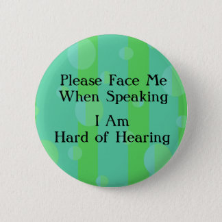 Blue Green Hard of Hearing Button