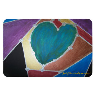 Blue Green Heart With Mosaic Theme Magnet