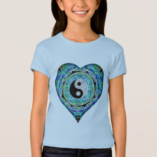 Blue Green Heart Yin Yang T-Shirt