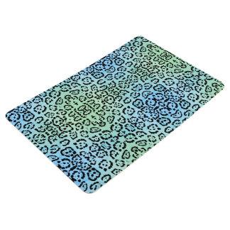 Blue Green Leopard Cat Animal Oil Paint Effect Floor Mat